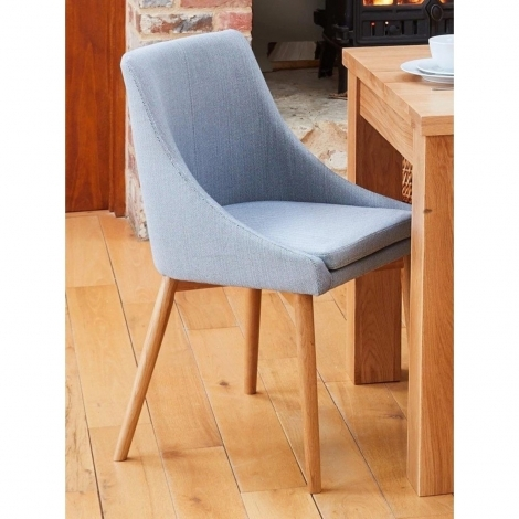 2x Mobel, Oak Leg, Grey Fabric, Dining Chairs (Pack of Two) COR03L