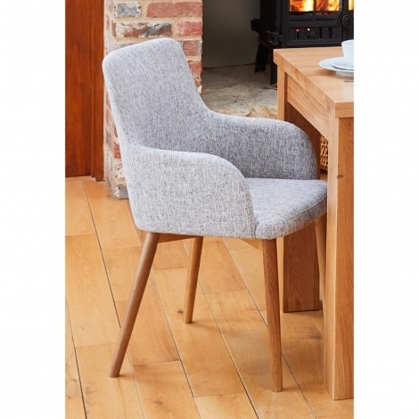 2x Mobel, Oak Leg, Grey Fabric, Dining Chairs (Pack of Two) COR03M