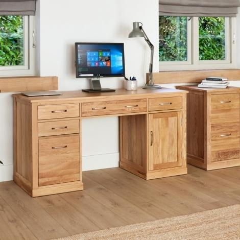 Baumhaus Mobel Oak Computer Desk Twin Pedestal