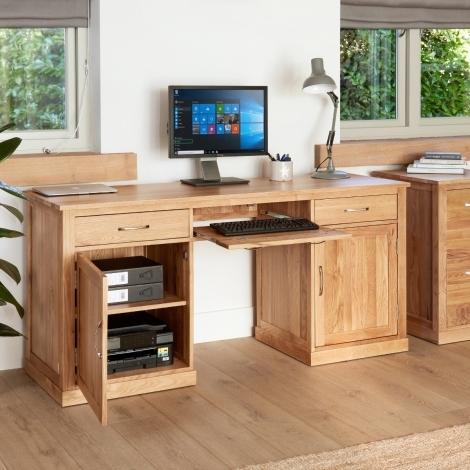 Baumhaus Mobel Oak Computer Desk Twin Pedestal Large