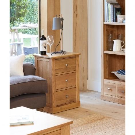 Baumhaus Mobel Oak 3 Drawer Lamp Table / Bedside
