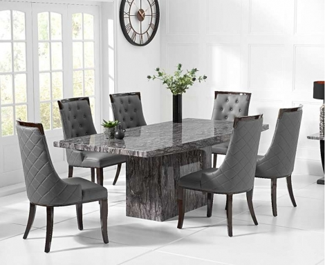 Coruna Grey 160cm Marble Dining Table With Aviva Chairs