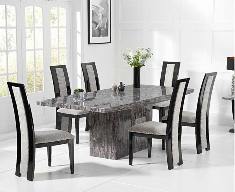 Coruna Grey 160cm Marble Dining Table With Rivilino Chairs