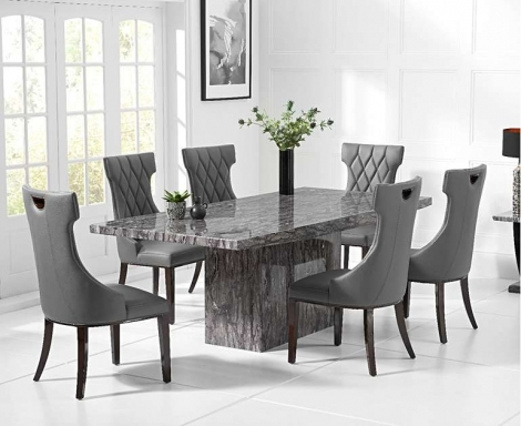 Coruna Grey 160cm Marble Dining Table With Fredo Chairs