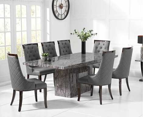 Coruna Grey 220cm Marble Dining Table With Aviva Chairs