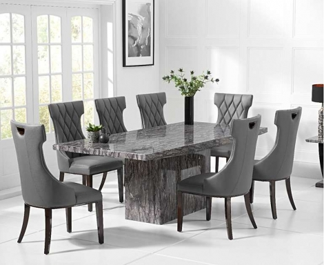 Coruna Grey 220cm Marble Dining Table With Fredo Chairs