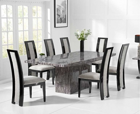 Coruna Grey 220cm Marble Dining Table With Rivilino Chairs