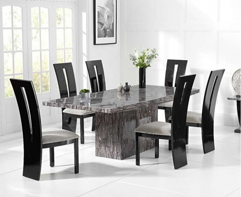 Coruna Grey 220cm Marble Dining Table With Valencie Chairs