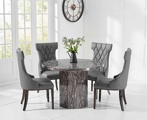 Coruna Round Grey 110cm Marble Dining Table With Fredo Chairs
