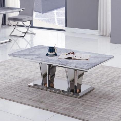 Riccardo, Grey Marble and Chrome, 120cm Coffee Table