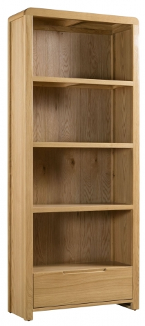 Geo, Oak, Tall Open Bookcase With Drawer