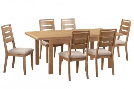 Geo, Oak, 150cm - 200cm Extending Dining Table & 6 Chairs