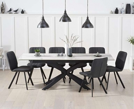 Bentley 180cm - 220cm Extending White Ceramic Marble Dining Table & Dina Dining Chairs
