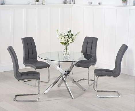 Daytona Round 120cm Glass Dining Table with Lucy Chairs