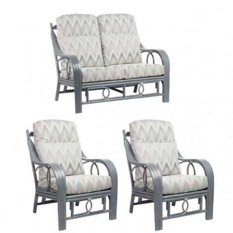 Desser, Madrid, Grey Wash, Cane 2 Seater & 2 Chairs