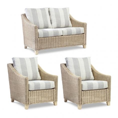 Desser, Dijon, Natural Wash, Cane 2 Seater Sofa & 2 Arm Chairs