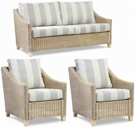 Desser, Dijon, Natural Wash, Cane 3 Seater Sofa & 2 Arm Chairs