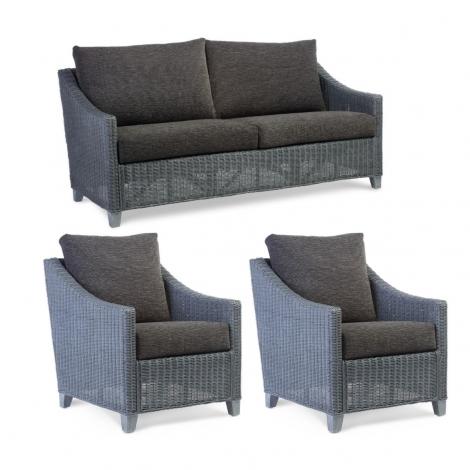 Desser, Dijon, Grey Frame, Cane 3 Seater Sofa & 2 Chairs
