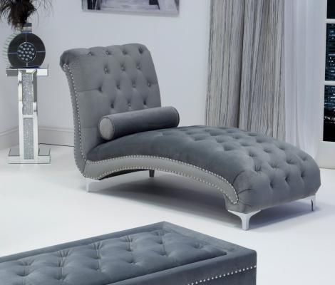 Brushed Velvet Grey Chaise
