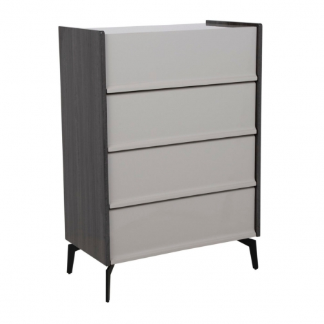 Bella 4 Drawer Tall Chest In Cashmere and Slate High Gloss