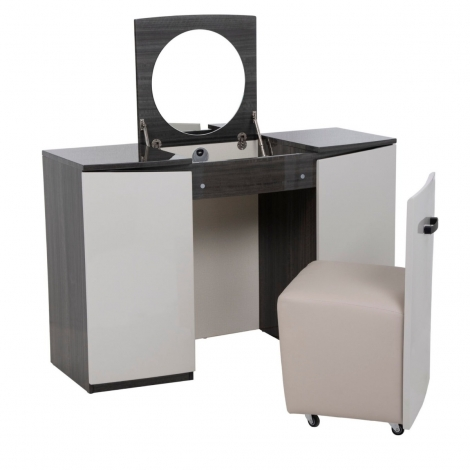 Bella Vanity Unit / Dressing Table With Stool In Cashmere and Slate High Gloss