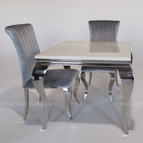 Louis Cream Marble and Chrome Louis Style 90cm Square Dining Table & Chairs