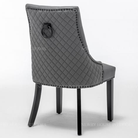 Elizabeth, Grey Faux Leather, Black Metal Knocker Back Dining Chair With Black Wooden Legs