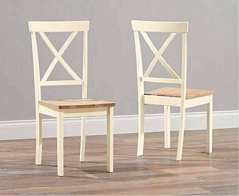 2x Elstree Oak and Cream Painted Dining Chairs Wooden Seat (Pair)