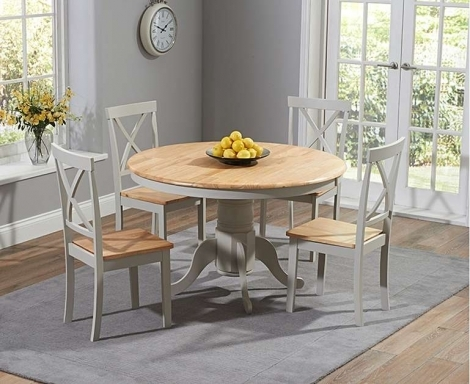 Elstree 120cm Fixed Top Oak and Grey Painted Dining Table With 4 Chairs