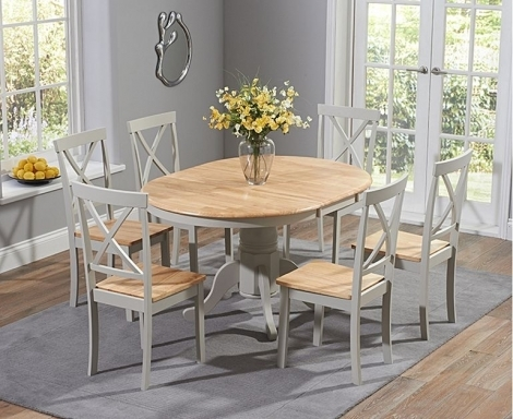 Elstree 100cm Extending Oak and Grey Painted Dining Table With Chairs