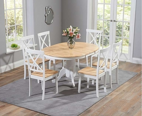 Elstree 100cm Extending Oak and White Painted Dining Table With Chairs