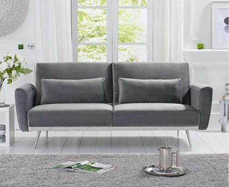 Esla Grey Velvet Fabric Sofa Bed
