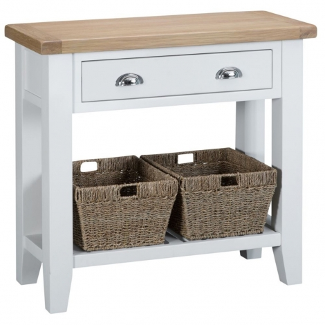 Hampstead Oak and White Painted 1 Drawer Console Table
