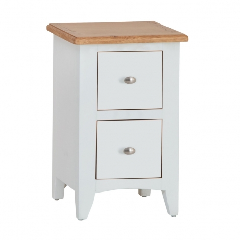 Georgia Oak & White Painted 2 Drawer Bedside Cabinet