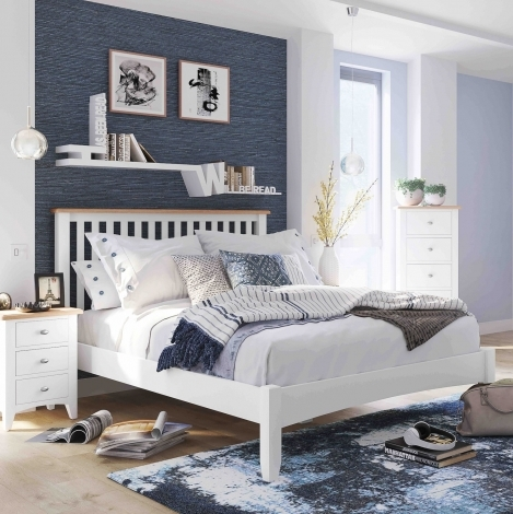 Georgia Oak & White Painted Bed Frame