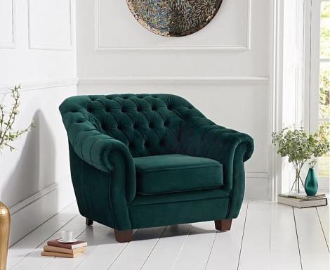 Liv Chesterfield Green Plush Fabric Arm Chair