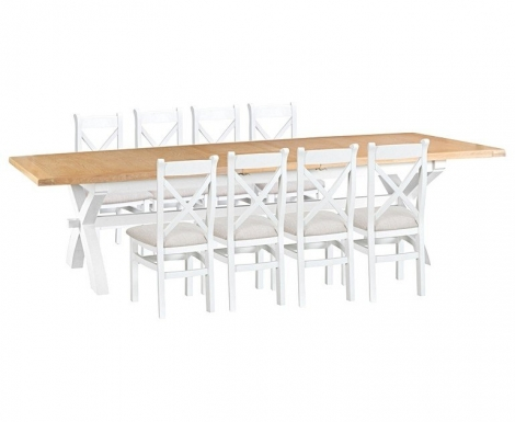 Hampstead Oak and White Painted 250cm Extending Dining Table & Cross Back Dining Chairs, Fabric Seats