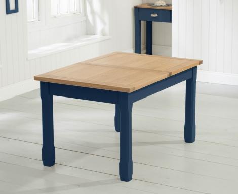 Sandringham Oak and Blue Painted, 130cm - 186cm Extending Dining Table