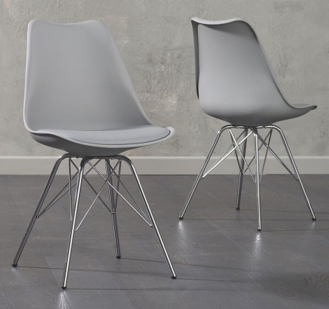 2x Calabasus Light Grey Faux Leather Dining Chair with Chrome Legs (Pair)