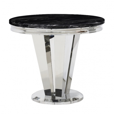 Riccardo 90cm Round Black Marble & Stainless Steel Dining Table