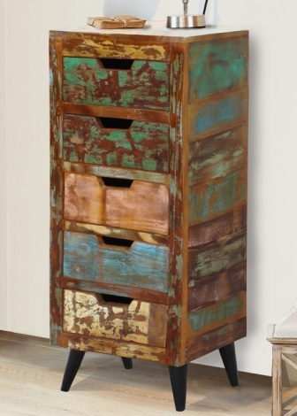 Reclaimed Painted 5 Drawer Tallboy