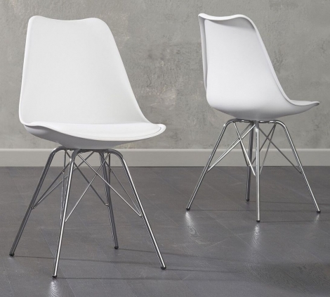 2x Calabasus White Faux Leather Dining Chair with Chrome Legs (Pair)