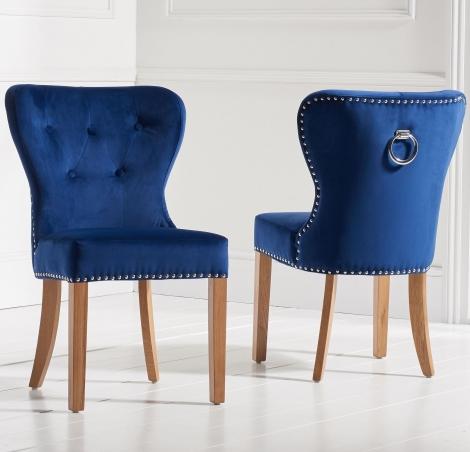 2x Kalim, Blue Fabric, Knocker Back,  Dining Chair, Solid Oak Leg (Pack of 2)