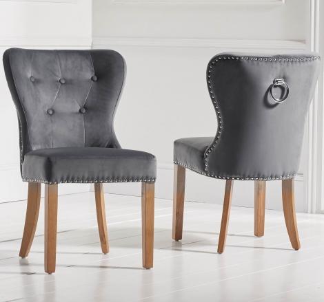 2x Kalim, Grey Velvet, Knocker Back,  Dining Chair, Solid Oak Leg (Pack of 2)