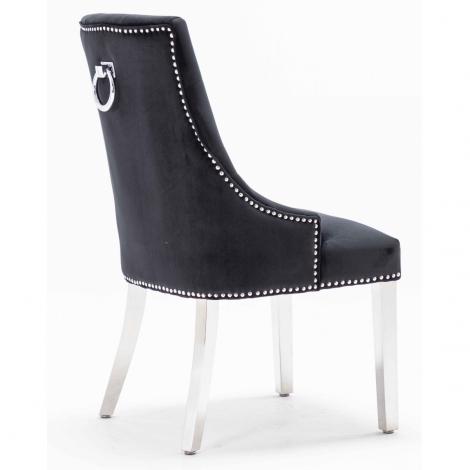 Knightsbridge Black French Velvet Knocker Back Dining Chair With Chrome Legs