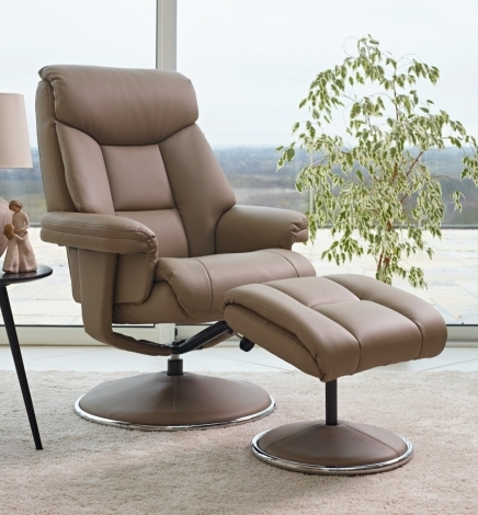 GFA, Biarritz, Earth, Plush Faux Leather, Swivel Recliner and Stool