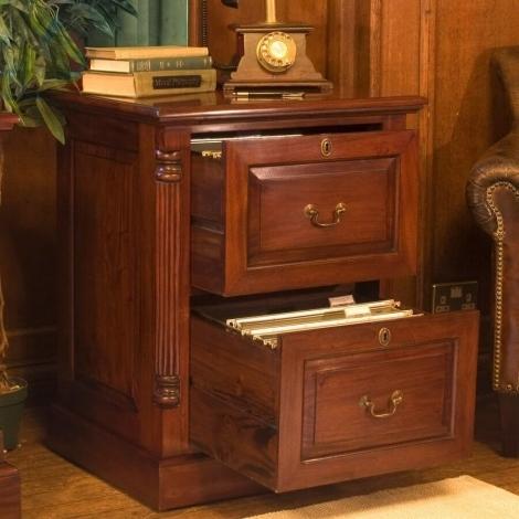 Louis Solid Mahogany 2 Drawer Filing Cabinet