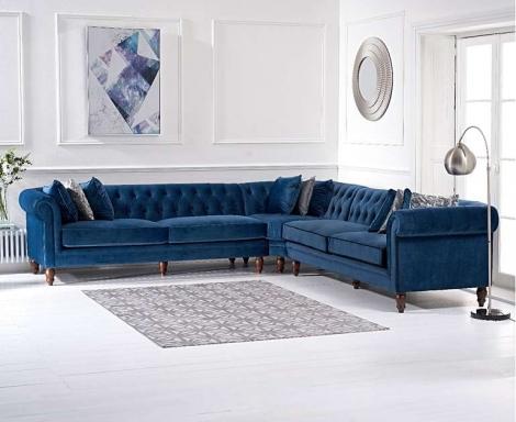 Lauren Corner Sofa In Blue Velvet