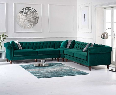 Lauren Corner Sofa In Green Velvet