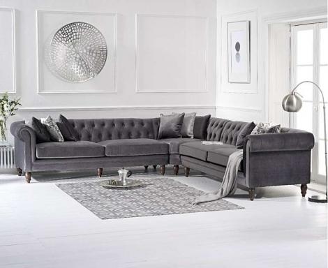Lauren Corner Sofa In Grey Velvet
